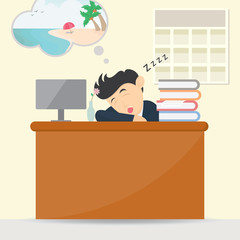 male businessman sleeping at work and dream vacation cartoon vector illustration