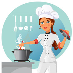 Cartoon chef in kitchen vector isolated on white background. Cook