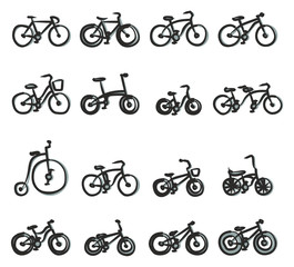 Bicycle Icons Freehand 2 Color