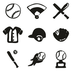 Baseball Icons Freehand Fill