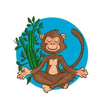 Cartoon monkey doing yoga