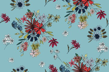 Seamless pattern with cute flowers. Floral background for textiles, Wallpaper, packaging.