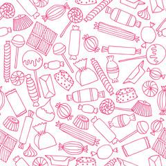 hand drawn candy seamless pattern