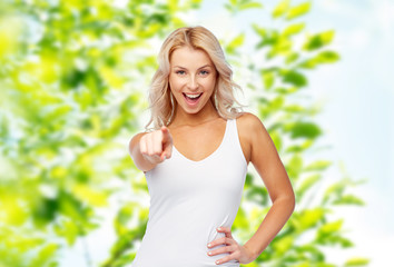 happy smiling young woman with blonde hair