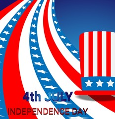 Independence Day celebration background with a hat and american flag
