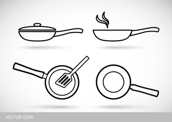 Frying pan set of icons in a line design style. Vector illustration.