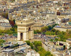 Arc de Triomphe in Paris, France. aerial view