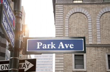 Park Avenue road sign, New York City