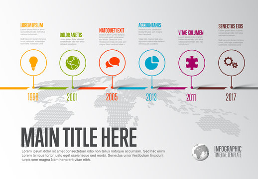 Horizontal Timeline Layout with Abstract World Map