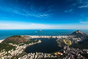 Aerial View of Rodrigo de Freitas Lagoon From the Corcovado Mountain in Rio de Janeiro, Brazil