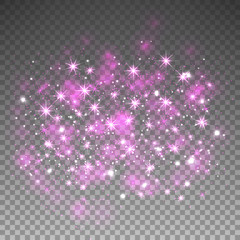 Pink glitter sparkles on transparent background. Vector dust texture. Twinkling confetti, shimmering star lights. Vector illustration.