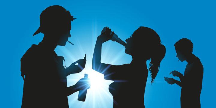 jeune - alcool - cigarette - addiction - ado - téléphone portable - réseaux sociaux - alcoolisme