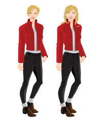 Vector illustration of blonde girls in bomber jacket, jeans and ankle boot with side elastic gussets on white background
