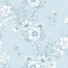 Seamless pattern with poppy flowers, daffodils, anemones, violets in botanical vintage style. On blue background . Stock line vector illustration.