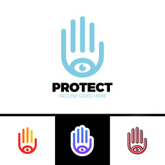 Logo of a stylized hand with eye symbol. This logo is suitable for many purpose as multimedia firm, publicity agencies, protection or security company.