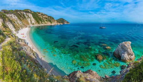 Wall mural Sansone beach with amazing turquoise water, Elba Island, Tuscany, Italy.