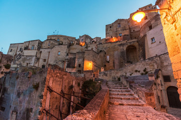 """Matera (Basilicata) - The historic center of the wonderful stone city of southern Italy, a tourist attraction for the famous """"Sassi"""", designated European Capital of Culture for 2019."""
