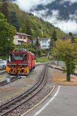 Gear railroad and snowplow of railway tracks. Glion, Montreux, Switzerland