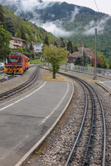 At station of gear railroad. Glion, Montreux, Switzerland