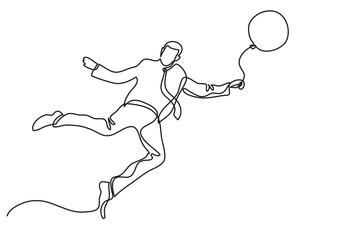 businessman flying with balloon - single line drawing