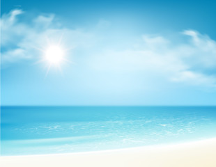 Beach and tropical sea with bright sun. Vector illustration