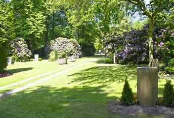 Blühende Sträucher auf dem Waldfriedhof