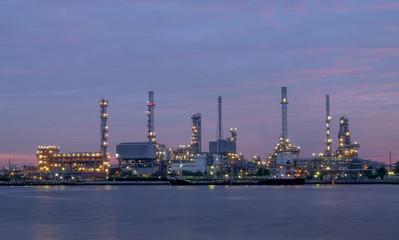 Oil refinery in Bangkok, Thailand just before sunrise.