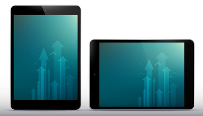 Vertical and horizontal Black Tablet Computer Vector Illustration.