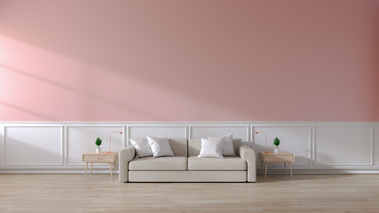 Modern room  interior of living room,Brown sofa  on wood flooring and pink wall  ,3d rendering