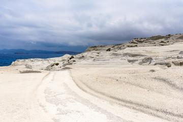 Sarakiniko Beach located on the north shore of the island of Milos. Cyclades Islands, Greece