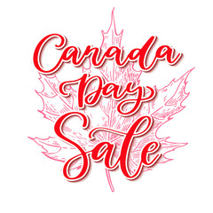 Happy Canada day vector sale card. Handwritten lettering. Calligraphy sticker.