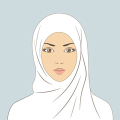 The face of an Arab girl. Muslim woman in hijab. Linear vector illustration