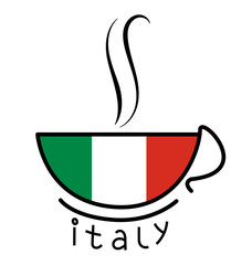 Coffee Cup with the Italian flag, logo coffee design element