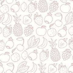 Hand drawn cartoon fruits seamless pattern. Fruit, multifruit and berry flavors. Outline food background