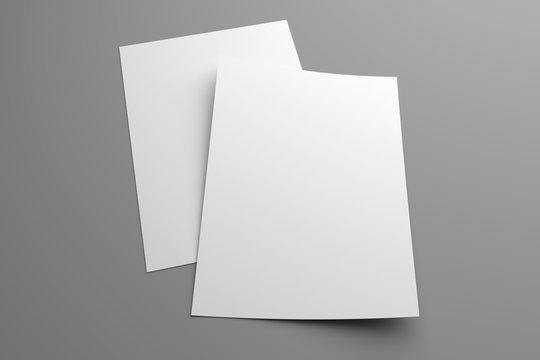 Blank two 3D illustration flyers mockup on gray