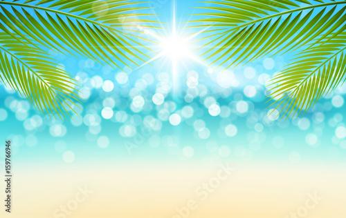 Bokeh Strand Mit Palmen Blatter Und Sonne Hintergrund Stock
