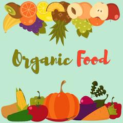 Fruits and vegetables. Set of flat fruits and vegetables. Organic food. Vector illustration. Fruits and vegetables background