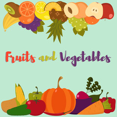 Fruits and vegetables. Set of flat fruits and vegetables. Vector illustration. Fruits and vegetables background