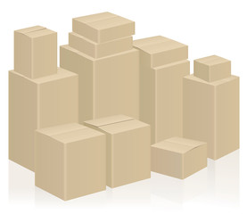 Moving boxes, symbolic for WE ARE MOVING or WE HAVE MOVED - packing case vector illustration on white background.