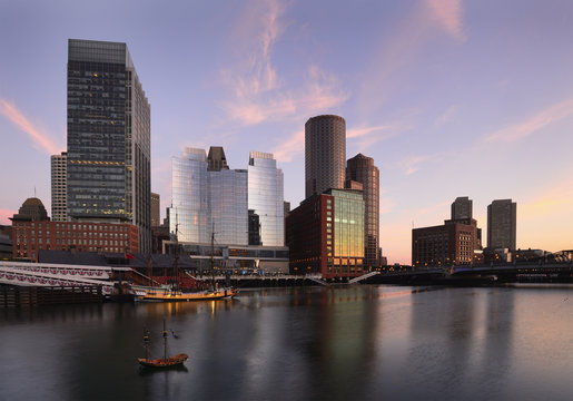 View of Fort Point Channel at dawn