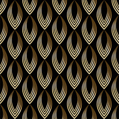 Abstract seamless pattern leaves, scales. Gold, bronze on black background. Vector illustration.
