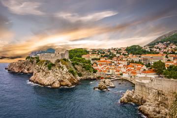Dubrovnik fortress cityscape sunset, Croatia Wall mural