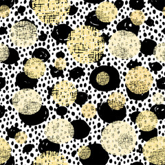 Polka Dot pattern.Textile ink brush strokes texture in doodle grunge style.