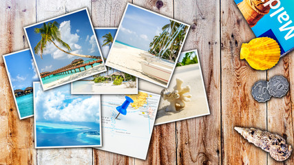 images from tropical island laying on wooden table with sea shell and tourist guide