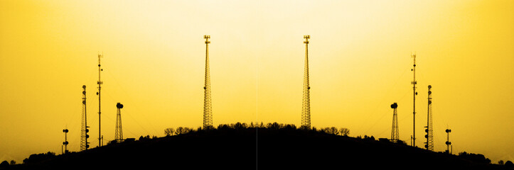 Radio Towers for Transmission Trasnmitting Signals Cell Phone TV