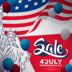 happy independence day with baloon and liberty statue brush style, independence day sale banner