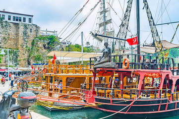 The sail ships in Antalya old port