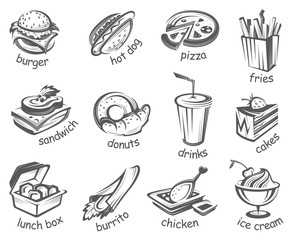 monochrome illustration of fast food set