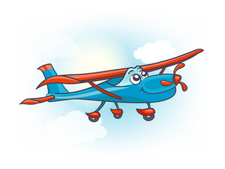 cartoon airplane with eyes. vector illustration
