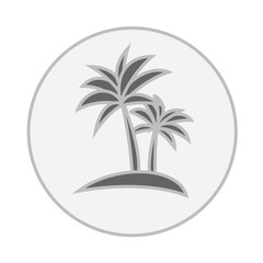 Black silhouette of palm trees in a circle, flat vector. Tropical beach, vector illustration. Logo of a palm tree in a circle